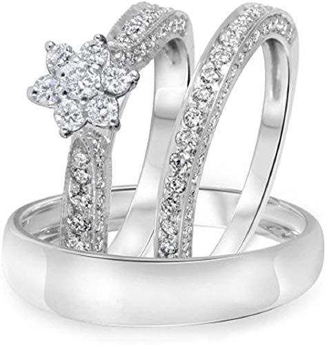 Triostar Anillo de compromiso de oro blanco de 14 quilates con diamantes de 1,35 quilates para hombre y mujer