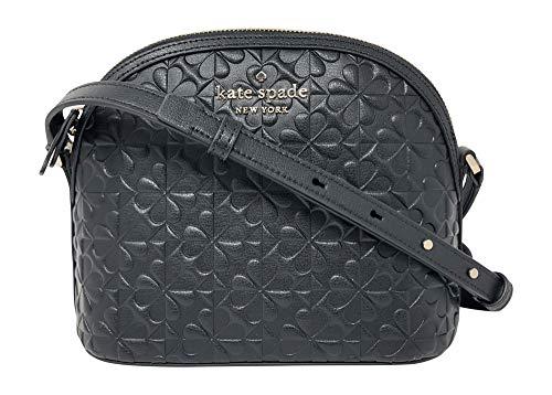 Kate Spade New York Hollie Spade Clover Geo Embossed X-Large Dome Crossbody Handbag, Black