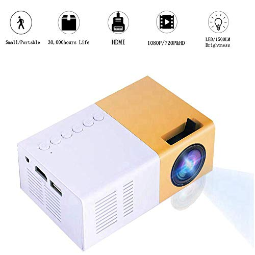 Mini Proyector, 1500lm Alto Brillo 1080P Proyector