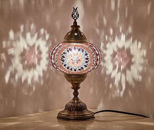 Demmex 2019 Turco Marroquí Mosaico Mesita Noche Tiffany Lámpara de noche para uso en Estados Unidos, Lavanda