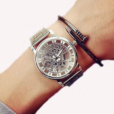 Fashion Watches Relojes Hermosos, Mujer Reloj de Vestir Chino Cronógrafo/Palabra Fresca/Frase/Reloj Casual Acero Inoxidable Banda Casual/Moda Plata/Dorado (Color : Oro)