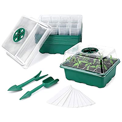 GOOWJUER 10Pack Plant Growing Trays, Seed Trays Seedling Starter Tray, Propagator with Humidity Vents Domes, Seed Trays Seedling Starter Reusable, Germination Grow Tray, Mini Propagator (10)