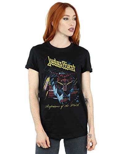 Absolute Cult Judas Priest Mujer Defender of Faith Camiseta del Novio Fit Negro XXX-Large