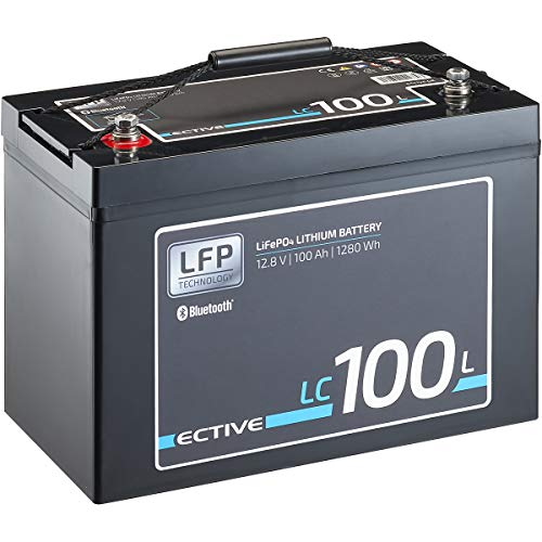 ECTIVE LC100L BT 12V 100Ah 1280Wh LiFePO4-Batterie mit Bluetooth-Funktion Lithium-Eisenphosphat Versorgungs-Batterie inklusive App