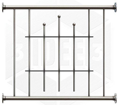 Fenstergitter Royal - Edelstahl geschliffen K240 - frei konfigurierbar Größe Höhe: 701-900 mm; Länge: 0-400 mm