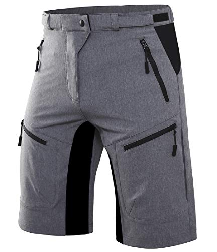 Wespornow Herren MTB Kurze Hose Schnelltrocknend-Atmungsaktiv MTB Bike Shorts-Mountainbike Hose Wasserabweisend-Fahrradhose mit Reißverschlusstaschen(Grau,L)