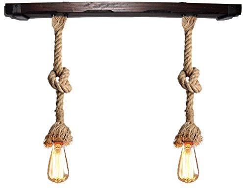 Lámpara con cuerda de yute 30 mm vintage y madera. De 2 luces E27