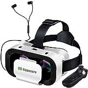 Gugusure 3D VRゴーグル VRヘッドセット 3Dメガネ 動画 ゲーム 映画 4.7~6.0インチのiPhone/Android 全てスマホ対応 イヤホン Bluetoothコントローラ付属 (ホワイト)