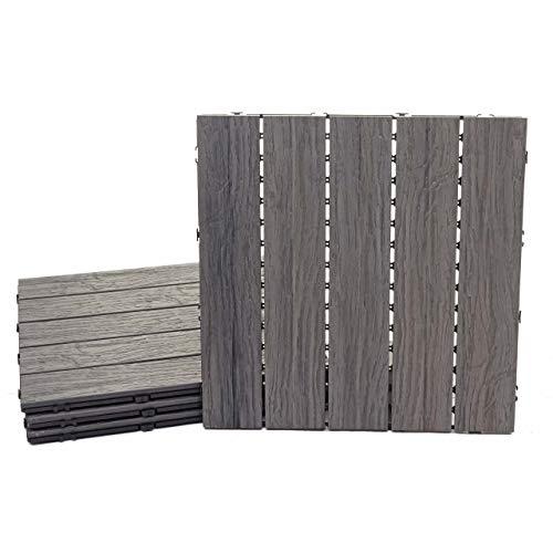 Mendler WPC Bodenfliese HWC-E19, Holzoptik Balkon/Terrasse, 3D-Struktur linear antik-braun ~ 4X je 50x50cm = 1qm