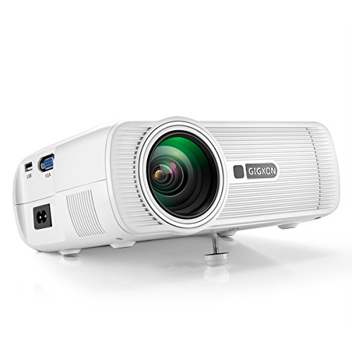 Projector, Gigxon G80 Portable 1080p Video Projector, With PC Laptop USB SD AV HDMI ,for Ipad Iphone Android Smartphone Video TV Movie Game Home Cinema Theater Entertainment Projector, White