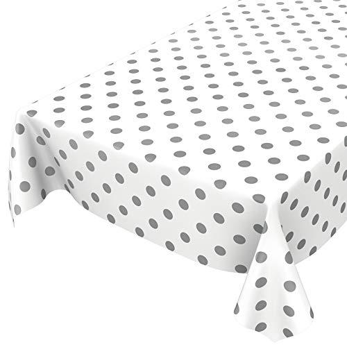 ANRO Tischdecke Wachstuch abwaschbar Wachstuchtischdecke Wachstischdecke Punkte Tupfen Anthrazit Weiß Silber 100x140cm