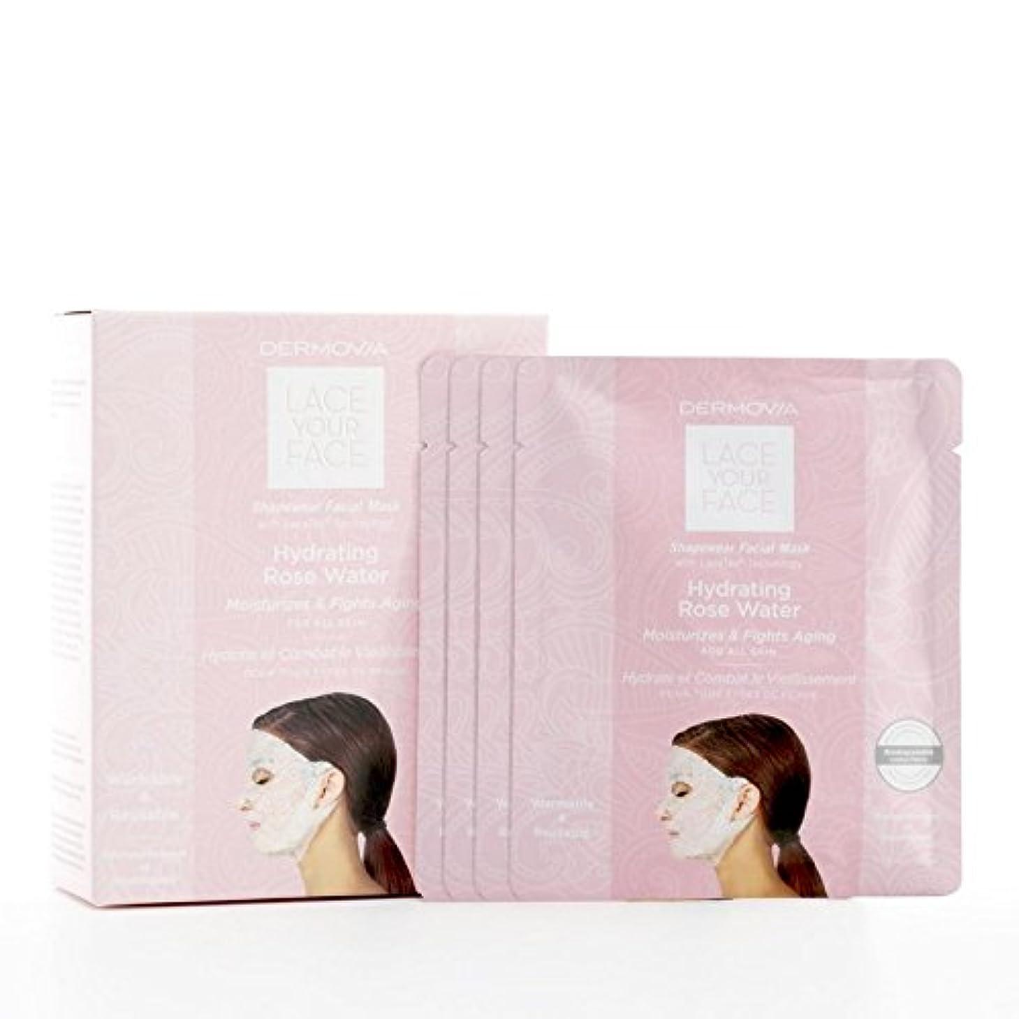 味方ペースト威するは、あなたの顔の圧縮フェイシャルマスク水和が水をバラレース x4 - Dermovia Lace Your Face Compression Facial Mask Hydrating Rose Water (Pack of 4) [並行輸入品]