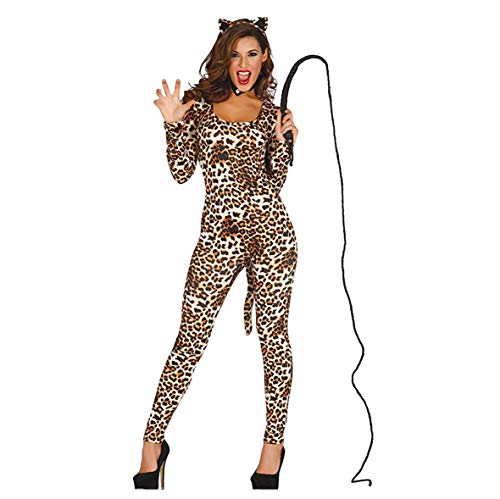 sexy Leopardin Fasching Karneval Party Kostüm für Damen Afrika Einteiler Gr. S - L, Größe:L
