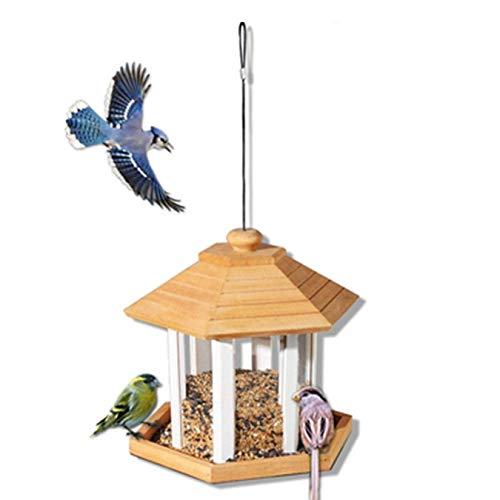 SHJMANPA Transparent Bird Feeder for Outdoors Traditional Weatherproof Bird Feeder House Design Hanging Decoration Bird Table Easy Cleaning, Yellow, Free size