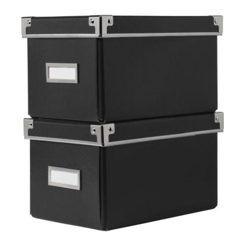 カセット / KASSETT CDボックス ふた付き / ブラック 2 ピース[イケア]IKEA