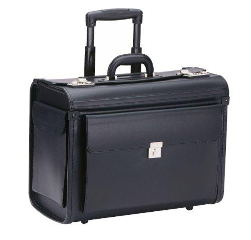 Pilotenkoffer Trolley NEU (7) D040P schwarz PU Synthetik Laptoppfach 15