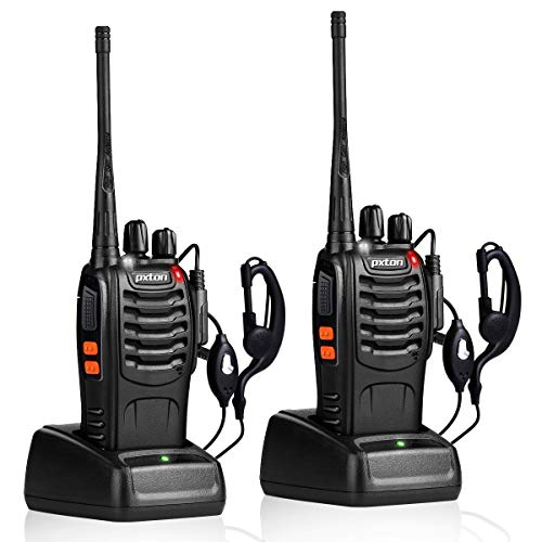 pxton Walkie Talkies Rechargeable Long Range Two-Way Radios with Earpieces
