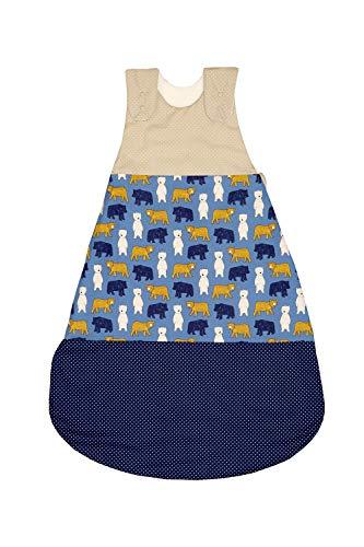 ULLENBOOM Sacco nanna estivo e invernale anallergico   Coperta sacco neonato in cotone   10-18 mesi/Taglie 80/86   SABBIA, ORSO