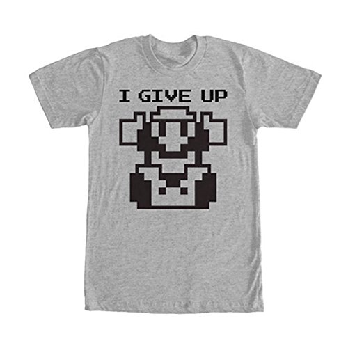 Nintendo Men's Give Up T-Shirt, Athletic Heather, Small