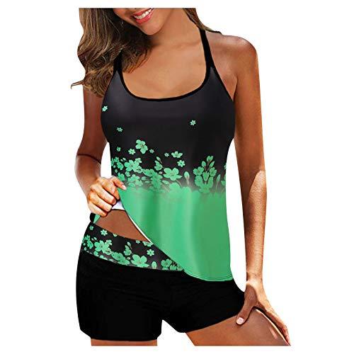 BFSAUHA Womens Racerback Color Block Print Tankini Swimsuits with Swim Capris Bathing Suits Plus Size Women