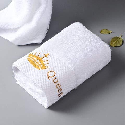Xiaobing Toalla de baño de Lujo Bordada Toalla de Hotel de Cinco Estrellas Blanca de algodón Puro Queen-70x140cm