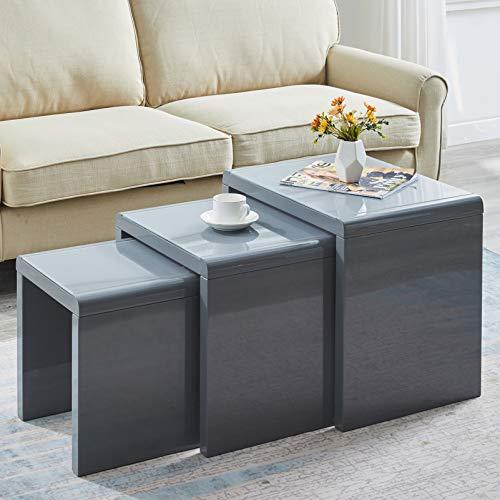 Satztisch 3 weiße Hochglanz-Couchtischnester Stapelbares Design MDF Holz Beistelltisch Wohnzimmermöbel Set (Grau)