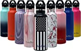 Gold Armour GulpBliss Double Wall Vacuum Insulated Stainless Steel Leak Proof Sports Water Bottle, Narrow Mouth with BPA Free Slip Free (Stars and Stripes, 16oz)