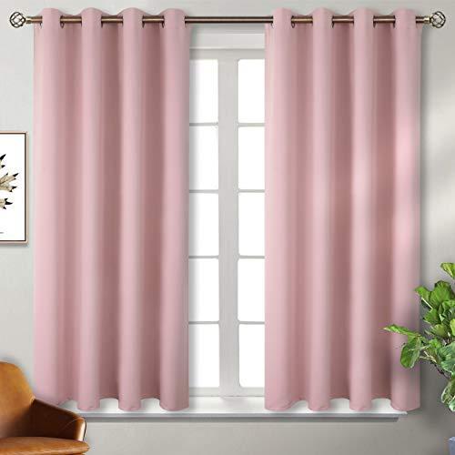 BGment Verdunklungsvorhänge mit Ösen für Schlafzimmer Blickdichte Vorhänge Energiespar & Wärmeisolierend Thermo Gardinen für Wohnzimmer, Rosa, 137 x 117 cm (H x B), 2 Stück