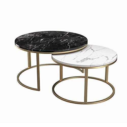 YNN Tavolini Ad Incastro Set di 2 Tavolini Laterali in Marmo con Supporto in Metallo Dorato per Camera da Letto, Soggiorno, Ufficio(Color:Nero)