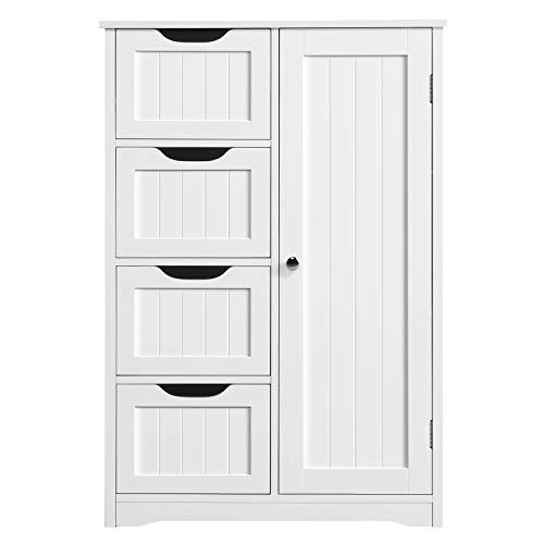 Yaheetech Wooden Bathroom Floor Cabinet, Side Storage Organizer Cabinet with 4...