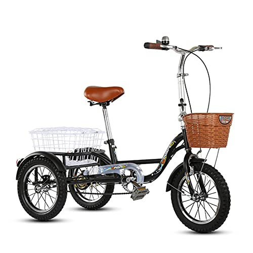 Adult Pedal Tricycle A Two-Seater Cruiser 3-Wheel Bicycle That Can Carry People A 14-Inch Small Single-Speed Tricycle for The Elderly with A Shopping Basket Suitable for Men and Women The Elderl