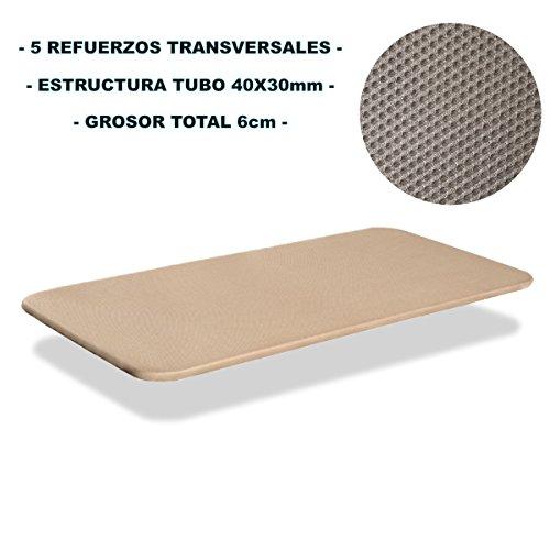 Miroytengo Base tapizada 90x180 cm, 5 Refuerzos TRANSVERSALES, Tubo 40x30 MM, Tejido 3D Transpirable, 6CM Grosor. Color Beige. SIN Patas