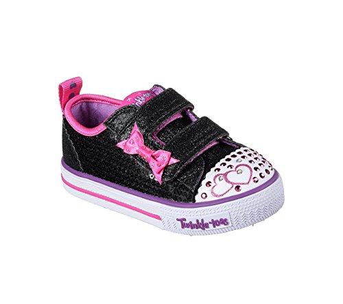 Kids Girls Infants Skechers Twinkle Toe Shuffles Itsy Bitsy Trainers BlackHot Pink 9