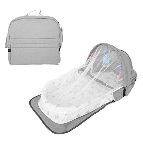Baby Bed Diaper Bag, Foldable Travel Baby Crib Changing Table Portable Baby Lounger Bed with Net for Baby Girls Boys(Grey)