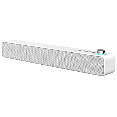 LENRUE Soundbar Bluetooth Speakers, 10W 3D Stereo Sound with Enhanced Bass, Bluetooth V5.0 Home Theater Speaker Wired and Wireless Connection, Support for Projector, Tablet, PC, TV and Phone (White) by LENRUE