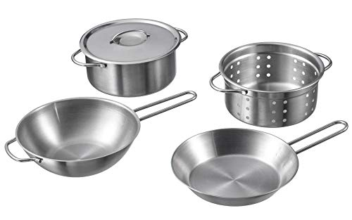 Ikea 4 Pieces cookware Set, Stainless Steel Color-Kids Toys, Silver, 1-P