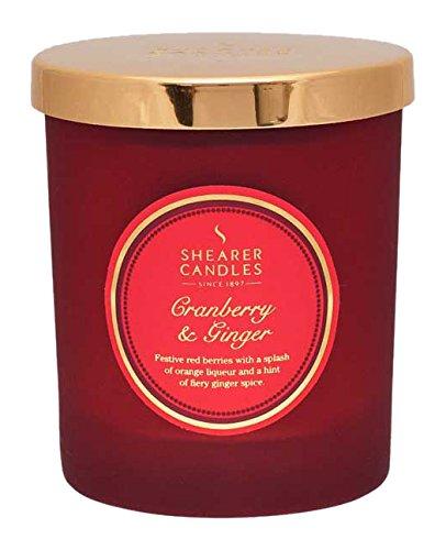 Shearer Candles Cranberry e Zenzero Candela profumata in Barattolo con Coperchio Oro, Rosso