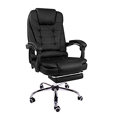 Halter Reclining Leather Office Chair - Modern Executive Adjustable Rolling Swivel Chair Headrest with Retractable Footrest