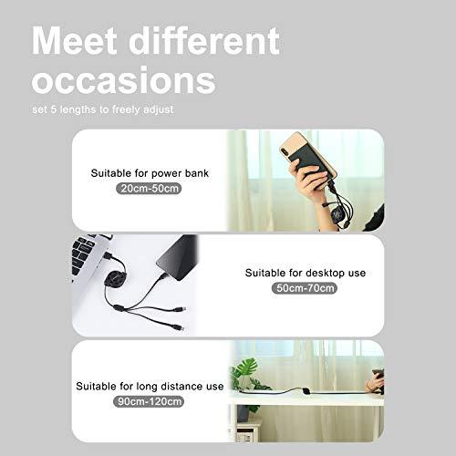 SDBAUX Multi USB Kabel 3 in 1 3.1A/1M, Universal Schnelle Aufladung Einziehbares Ladekabel mit 8-Pin Typ C Micro USB Port, Kompatibel mit Phone 12 11 Pro Xs Max Xr X 8, Samsung Galaxy Google Pixel LG