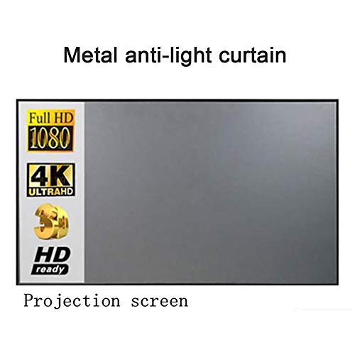 N 60 Inch Projector Screen,Video Projector Screen, Office 3D High-Definition Metal Light-Proof Projector Screen,Foldable Anti-Crease Washable Widescreen Projector Movies Screen