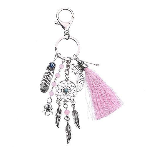 Demarkt Porte-clés,Turquoise Feuilles Plumes Net Hanging Keychain Téléphone Sac Pendentif Porte Clef Rose