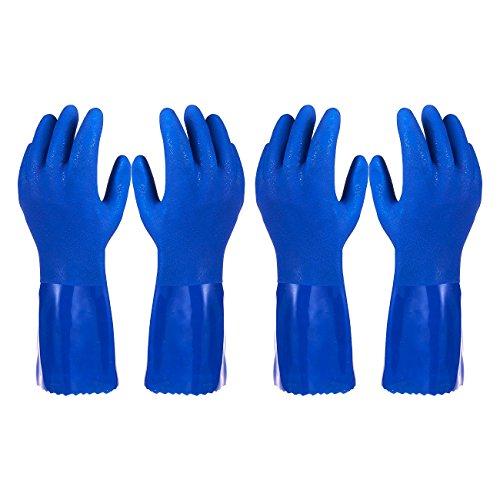 Rubber Household Gloves - Cotton Lined Dishwashing Kitchen Gloves (2 Pair, Medium)
