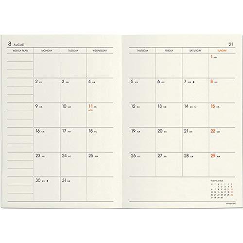 ハイタイド手帳2021年(2020年10月始まり)レプレブラウン(A6ブロックウィークリー)