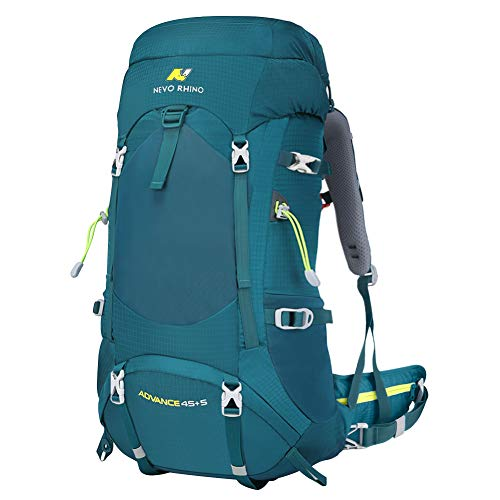 N NEVO RHINO Hiking Backpack, 40L/50L/60L/70L/80L Waterproof Camping Backpacking Daypack (Green 50L, (45+5) L)
