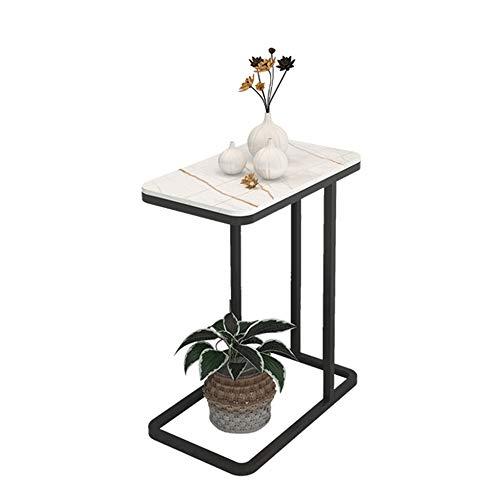 Mesa de centro de mármol, mesa auxiliar de tablero de roca, utilizada en la sala de estar, balcón, etc, diseño cuadrado creativo, resistente a los arañazos, arte de hierro, soporte de carga esta