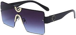 GODYS - Hombres europeos y americanos s gafas de sol de moda retro metal damas marco grande cara redonda gafas de sol-Negro_Frame_Gray_Blue_Film