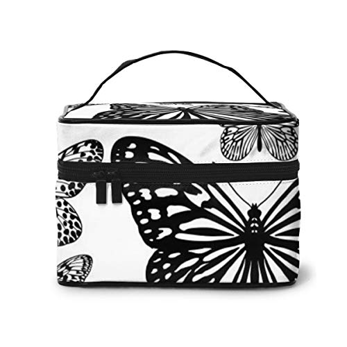 Travel Makeup Cosmetic Bags Girl Toiletry Bags Makeup Tropical Butterflies Black White Seamless Pattern