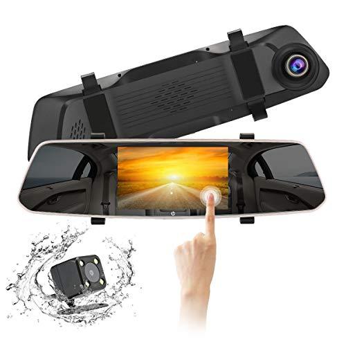 Specchio Dash Cam Specchietto retrovisore veicolo registratore Full HD 1080P 4.8 pollici Touch Screen con sistema di monitoraggio inverso di registrazione di emergenza