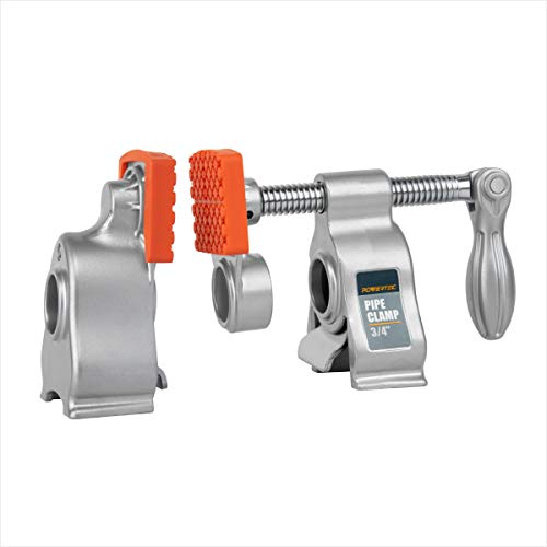 """POWERTEC 71606 Heavy Duty Pipe Clamp 3/4 Inch w/ 2-3/8"""" Throat Depth, Aluminum, 2200 lbs Clamping Force for Woodworking – 1 Pack"""