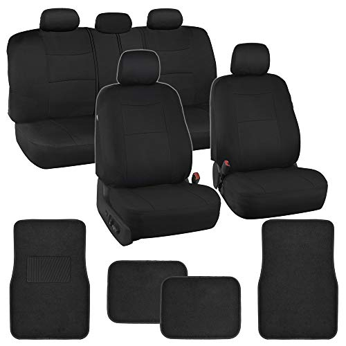 Simply Covered – Black Car Seat Covers Protectors Full Set Interior w/Secure-Grip Carpet Floor Mats for Car Auto (Black)